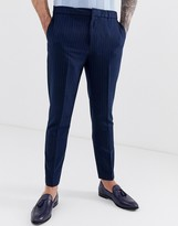 Harry Brown slim fit elasticated waist cropped pinstripe pants