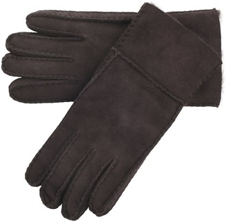 Lambland Ladies/Womens Super Soft Genuine Real Sheepskin Gloves with Turn Back Cuff in Coffee Brown Size Medium