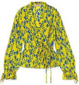 Preen Line Taia Ruffled Floral-print Crepe De Chine Wrap Blouse - Yellow