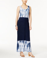 Style&Co. Style & Co Style & Co Petite Cotton Colorblocked Tie-Dyed Maxi Dress, Created for Macy's