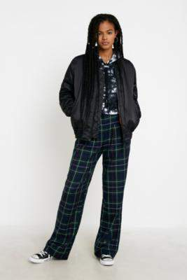 Urban Renewal Vintage Inspired By Vintage Checked Puddle Trousers - blue XS at Urban Outfitters