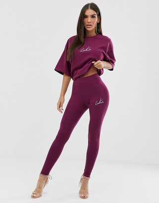 Couture The Club motif legging in berry-Red