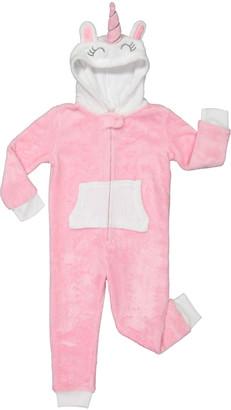 Rene Rofe Girl Girls' Footies PINK - Pink & White Unicorn Hooded Sleepwear - Toddler