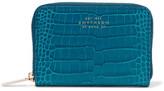 Smythson Mara Croc-effect Glossed-leather Wallet - Teal