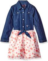 GUESS Little Girls' Denim and Print Chiffon Dress