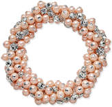 Charter Club Silver-Tone Imitation Pink Pearl and Crystal Cluster Stretch Bracelet, Created for Macy's