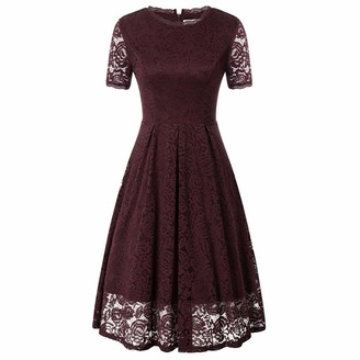 GRACE KARIN Women's Cocktail Dress A-Line Elegant Short Sleeve Pointed Knee Length with Lining Summer L Wine DECL20-2
