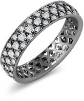 TriJewels White Sapphire Three Row Eternity Band 0.95ct tw to 1.16ct tw in 14K White Gold.size 6.0