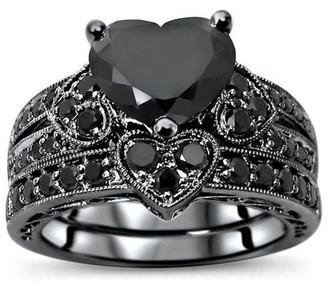 Overstock 14k Black Rhodium Plated White Gold 3.50ct Black Heart Shape Diamond Engagement Ring Bridal Set