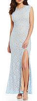 Jodi Kristopher Pearl Beaded High Neckline Long Lace Dress