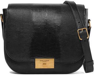 Saint Laurent Betty Lizard-effect Leather Shoulder Bag - Black