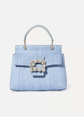 Roger Vivier Crystal-embellished Leather-trimmed Denim Tote - Light denim