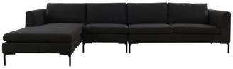 "Jennifer Taylor Weylyn Modern Modular Chaise Sectional Sofa, Left-Arm Facing, 131"", Bl"