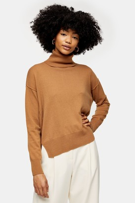 Topshop Camel Ribbed Back Roll Neck Jumper With Cashmere