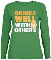 Old Glory St Patricks Day Drinks Well With Others Womens Long Sleeve T-Shirt