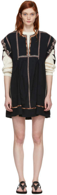 Etoile Isabel Marant Black Embroidered Belissa Dress