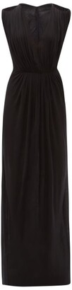 Rick Owens Helena Cutout-shoulder V-neck Jersey Dress - Black