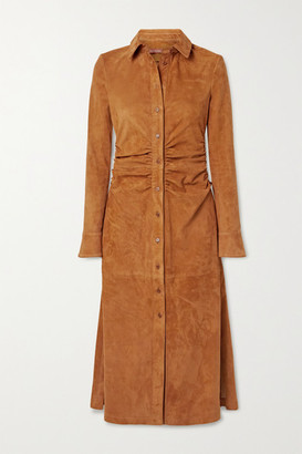 Altuzarra Claudia Ruched Suede Midi Shirt Dress - Camel