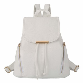 Aiseyi Women Backpack Purse PU Leather Fashion Designer Backpack Ladies Travel Casual Rucksack (White)