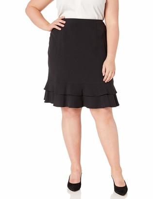 Kasper Women's Plus Size Stretch Crepe Skirt with Bottom Ruffle Detail