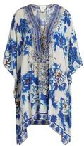 Camilla Ring of Roses-print lace-up silk kaftan