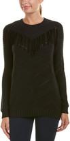 Autumn Cashmere Cotton By Fringe Suede-Trim Sweater