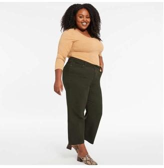 Joe Fresh Women+ Crop Wide Leg Jeans, Dark Olive (Size 20)