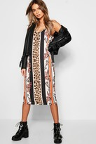 boohoo Leopard Stripe Midi Cami Dress