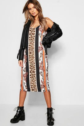 boohoo Leopard Stripe Midi Cami Dress