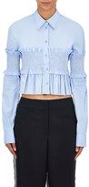 Cédric Charlier Women's Embellished Poplin Crop Shirt-BLUE