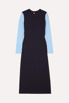 Marni Two-tone Crepe And Crepe De Chine Maxi Dress - Navy