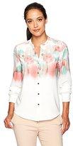 Calvin Klein Women's Petite Long Sleeve Button Down Top in Floral Print