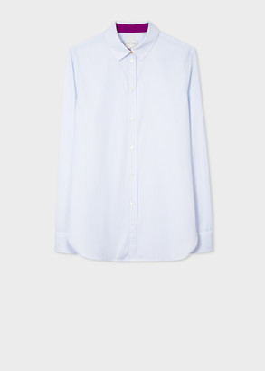 Paul Smith Women's Slim-Fit Light Blue Pinstripe Cotton Shirt
