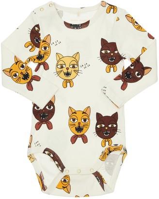 Mini Rodini Cat Print Organic Cotton Jersey Bodysuit