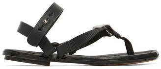 Lanvin Black Ankle Strap Thong Sandals