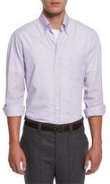 Brunello Cucinelli Micro-Stripe Long-Sleeve Sport Shirt, Purple
