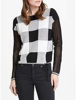 Oui Mesh Check Sweater, Black