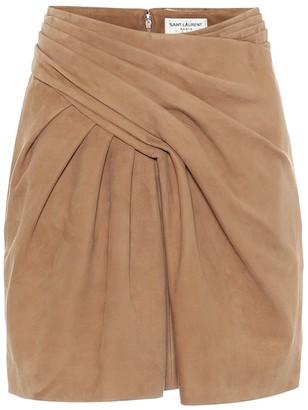 Saint Laurent High-rise suede miniskirt