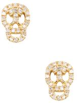 14K Yellow Gold & 0.12 Total Ct. Diamond Skull Stud Earrings