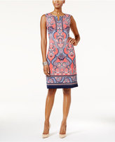 JM Collection Split-Neck Sheath Dress, Only at Macy's