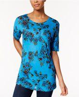 Kensie Short-Sleeve Floral-Print Top