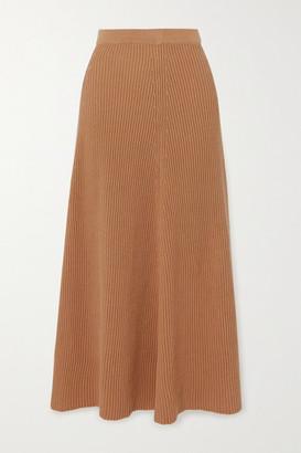 Joseph Ribbed Cotton Midi Skirt - Brown