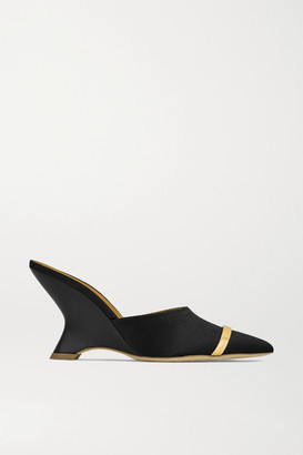 Malone Souliers Marilyn 80 Satin And Leather Mules