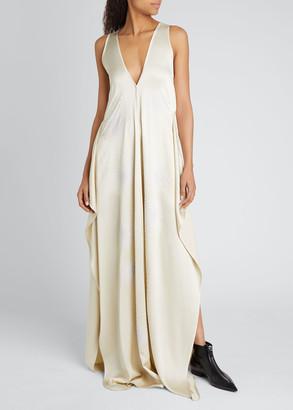 Stella McCartney Firework Embellished V-Neck Sleeveless Satin Gown