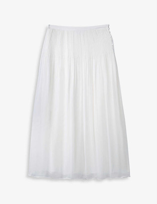 The White Company Pleated high-waist crepe midi skirt
