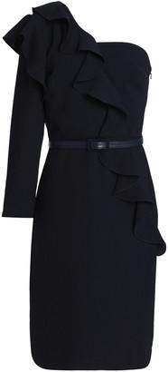 Mikael Aghal One-shoulder Ruffled Crepe Dress