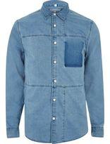 River Island MensBlue denim panel shirt