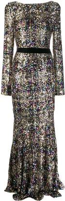Talbot Runhof Sequin Embroidered Evening Dress
