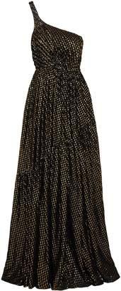 Stella McCartney One-shoulder Metallic Fil Coupe Silk-blend Chiffon Gown