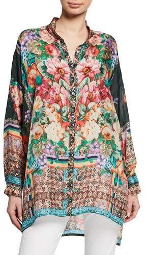 Johnny Was Bethia Mixed-Print Button-Front Long-Sleeve Silk Georgette Top
